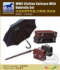Bronco Model Kit AB3521 1/35 WWII Civilian Suitcase With Umbrella Set
