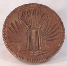 Antique Butter Mold Stamp Wooden Wheat Sheaf Carved Folk Art Wood Country #3
