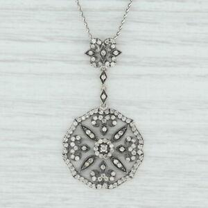 "0.73ctw Diamond Flower Pendant Necklace 14k White Gold 17"" Gothic Floral"