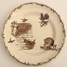 Assiette plate en faïence HBetCie, HBCM, Terre de Fer, décor coq chat oiseau.