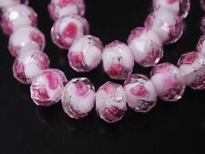 12x8mm,10Pcs Faceted Lampwork Glass Charms Rose Flower Finding Loose Spacer Bead