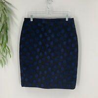 J.Crew Womens Pencil Skirt Size 8 Black Blue Polka Dot Knee Length Career Office