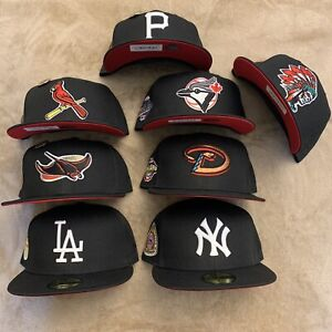 Hat Club Exclusive Luis V Skul Red Bottom Brim UV New Era 59Fifty Fitted MLB Pin