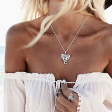 Cute Vintage Silver Elephant Pendant Chain Choker Charm Necklace Boho Jewelry