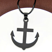 Cool black Stainless Steel Anchor Pendant adjustable rope Necklace