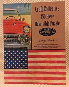 ~ Avon~Vintage Car/Flag Reversible Puzzle~450 Piece~NEW Factory Sealed in Bag ~