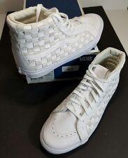 Vans Vault OG SK8 Hi LX Woven Checkerboard Premium White Leather US Sz 10.5 NEW