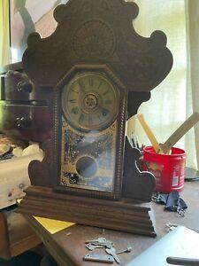 BEAUTIFUL ANTIQUE SESSIONS GINGERBREAD MANTEL PARLOR CLOCK