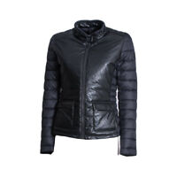 Piumino Donna Save The Duck D3086W Skin 6 Giubbino Nylon Pelle Biker Nero Nuovo