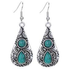 Teardrop Carved Green Turquoise Tibetan Silver lady Party Hook Earrings Jewelry