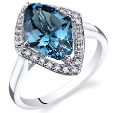 London Blue Topaz Diamond Ring 14Kt White Gold Marquise Cut 4 Carats Size 7