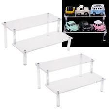 4xAcrylic Riser Display Shelf Removable Rack 2Tier Display Stand for Figures