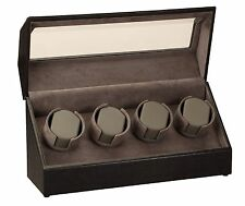 New High Quality Diplomat Black Leather Quad 4 Watch Winder Box / Case