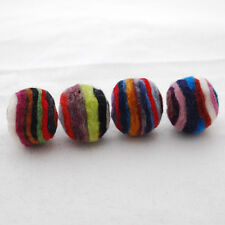 Assorted Stripe Swirl Felt Balls - 100% Wool Felt Balls - 2cm -  20 Count