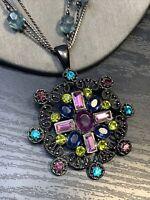 "Vintage Necklace Maltese cross rhinestone pastel Bling Statement Statement 18"" ~"