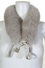 'S Max Mara Womens Faux Fur Self Tie Scarf Light Gray
