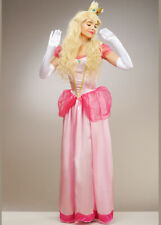Womens Long Pink Princess Peach Style Costume