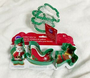 Wilton, Christmas Metal and Plastic Grip Cookie Cutters, Lot of 6 Shapes