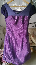 "Robe Tunique ""SOGGO Collection"" Violet Empire Voile Sequins Neuve Taille S"