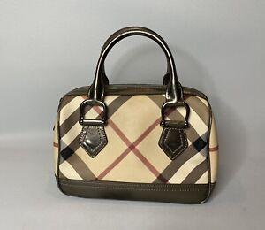 Burberry Supernova Check Pvc Small Boston Bag Handbag