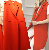 Womens Girls Double Breasted Lapel Long Vest Sleeveless Slim Fit Outerwear B300