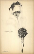 Beautiful Woman in Santa Claus Hat Marjorie McMein c1910 Postcard