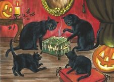 ACEO PRINT OF PAINTING RYTA HALLOWEEN DYBBUK BOX BLACK CAT HAUNTED SPIRIT GHOST