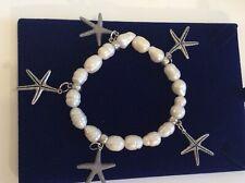 Bracelet ,mermaid Seaside Look Chunky Freshwater Pearl And Starfish