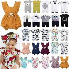 Summer Toddler Baby Girls Boys Ruffle Sunsuit Romper Jumpsuit Playsuit Outfits