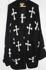 WILDFOX White Label Women's Cardigan Black Oversized Open Front Cross Wool L