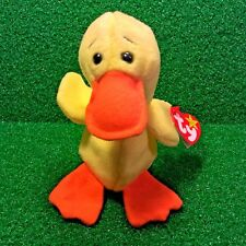 New Rare Ty Beanie Baby Quackers The Duck Retired 1994 PVC Plush Toy Bird MWMT