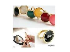 Fashion Jewelry Gold Alloy Big Round Colorful Simulated Stone Adjustable Ring