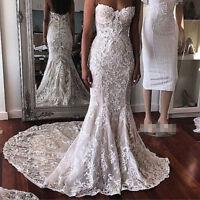 Strapless Lace Applique Long Trumpet Bridal Gowns Wedding Dresses Custom Size