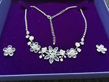Wedding Necklace & earring set flower floral clear crystal costume jewellery