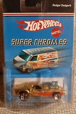 Hot Wheels 2006 Super Chromes RODGER DODGER GOLD with FLAMES and RED LINE TIRES