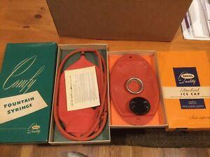 Davol FOUNTAIN SYRINGE #11 & Ice Cap 402 unused mint nib red vintage ENEMA BAG