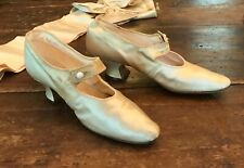 Vintage Antique Edwardian Silk Wedding Slippers Shoes