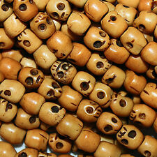 SKULL BONE BEADS CARVED BONE SKULLS SMALL 5MM BEAD STRAND B11