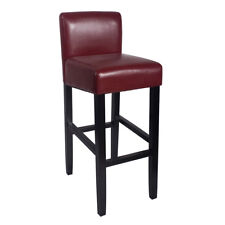 """NEW!  WOOD/LEATHER BARSTOOL - 32"""" BAR/COUNTER STOOL -BROOKLYN-SET OF 2 - RED"""