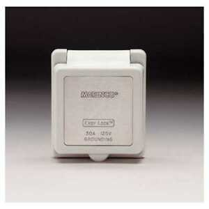 Marinco AFI 301ELCB Power Inlet Cap & Bezel 30A 125V White & Stainless Trim