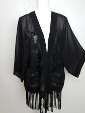 Next Ladies Evening Jacket Size 16 black Tassels Embroidered Chiffon Open sheer