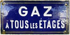 Old French enamel steel building apartment wall sign plaque gas on all floors