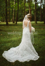 "High Quality Bright White Bridal Veil 1 Tier Knee Cut Edge 45"" Swarovski Crystal"