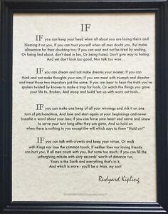11x14 Framed Motivational Quote IF Poem written by Rudyard Kipling in 1895