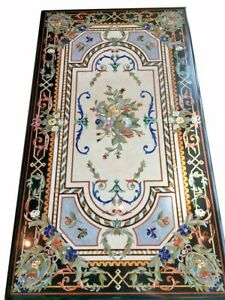 """60"""" x 36"""" Marble Coffee center Table Top Multi Stones Inlay Work Home Decor"""