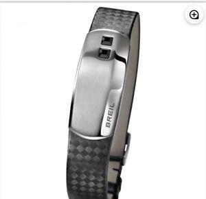 $125 Breil Leather Unisex Jewels Board  Bracelet With Swarovski Elements T