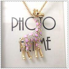 Fashion Jewellery Crystal Giraffe Pendant charm Sweater chain necklace gift