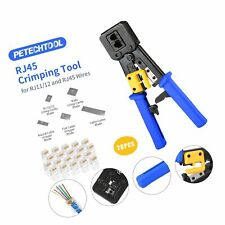 Rj45 Professional Crimp Tool Pass Through Cat5 Cat5e Cat6 Heavy Duty Crimping.