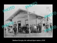 OLD LARGE HISTORIC PHOTO OF STATHAM GEORGIA, THE RAILROAD DEPOT STATION c1910