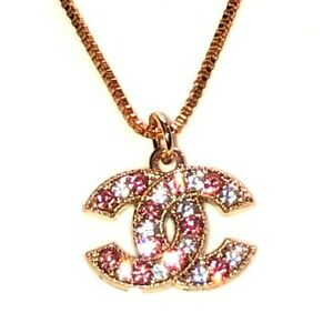 Authentic Vintage Signed Chanel Pendant Necklace Rhinestone CC Jewelry Stamped